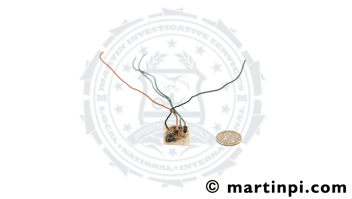 Phone tap bug. Actual bug found during a bug sweep service. Martin Investigative Services. (800) 577-1080