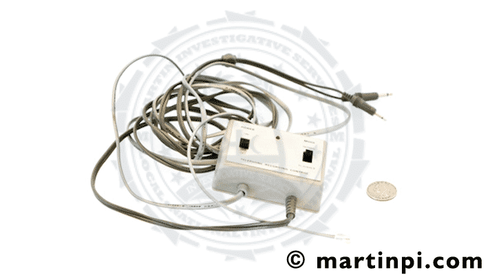 Old school tape recorder. Actual bug found during a bug sweep service. Martin Investigative Services. (800) 577-1080