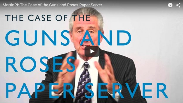 The Case of the Guns and Roses Paper Server. Video. Martin Investigative Services. (800) 577-1080