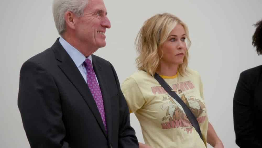 """Thomas Martin with Chelsea Handler. Screengrab from the """"It's Girl Empowerment"""" episode of the Netflix show Chelsea."""