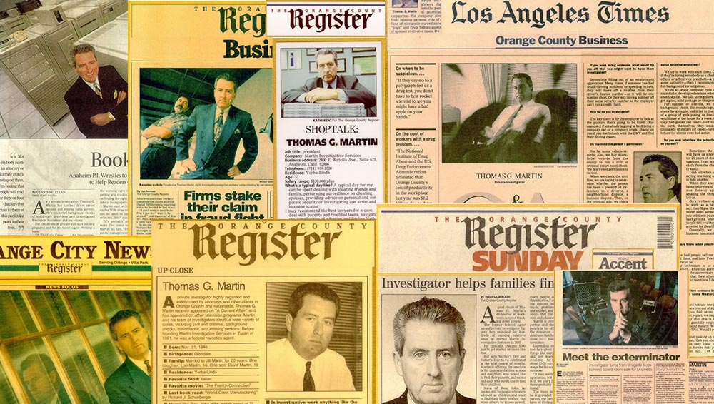 Multiple print articles featuring Martin Investigative Services over the years