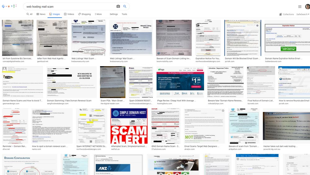 A Google Image search showing many of the fake invoices for web hosting that are being mailed out.